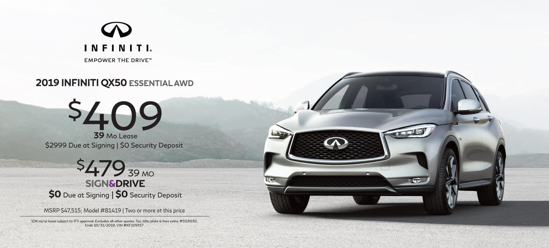2019 INFINITI specials QX50 ESSENTIAL AWD