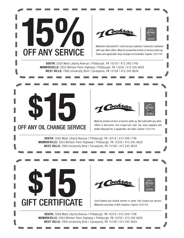 auto service specials cochran nissan of south hills near south hills