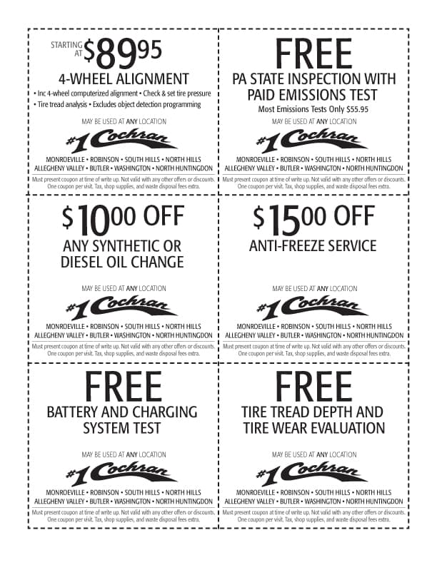Service Coupons - tire match guarantee in which #1 Cochran Subaru will match any advertised tire price