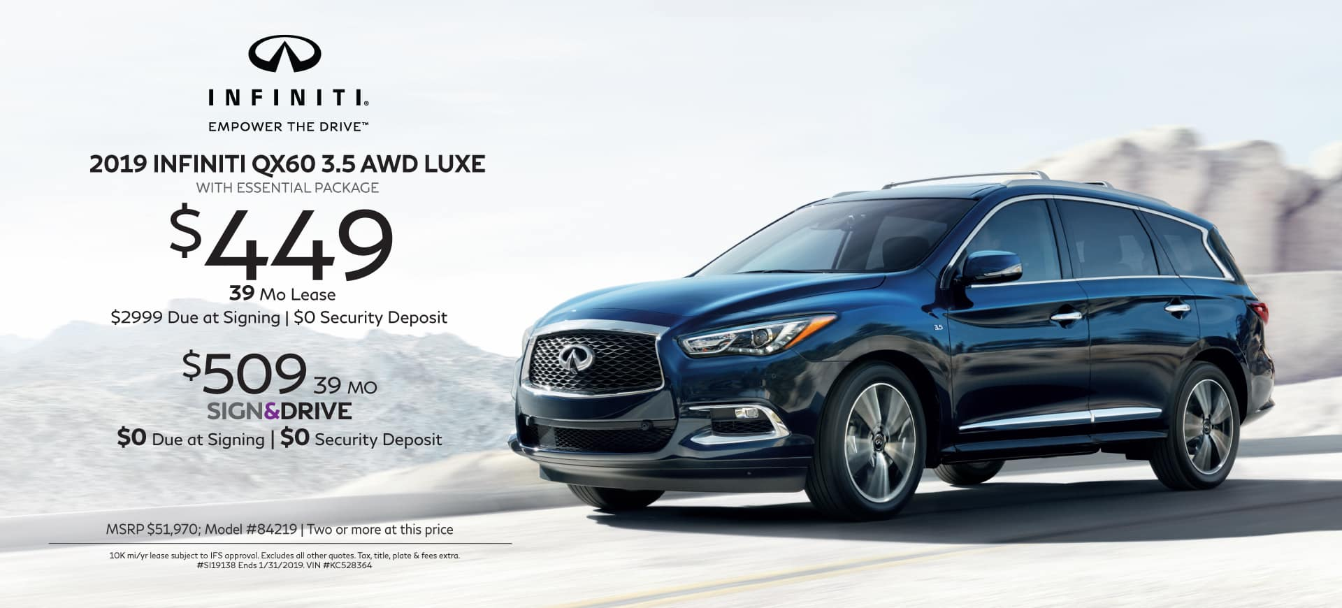 2019 INFINITI Specials QX60 3.5 AWD LUXE