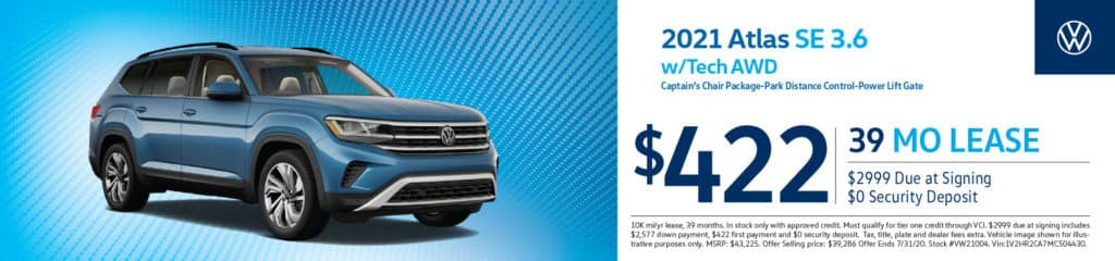 New 2021 Volkswagen Atlas 3.6L V6 SE w/Technology AWD