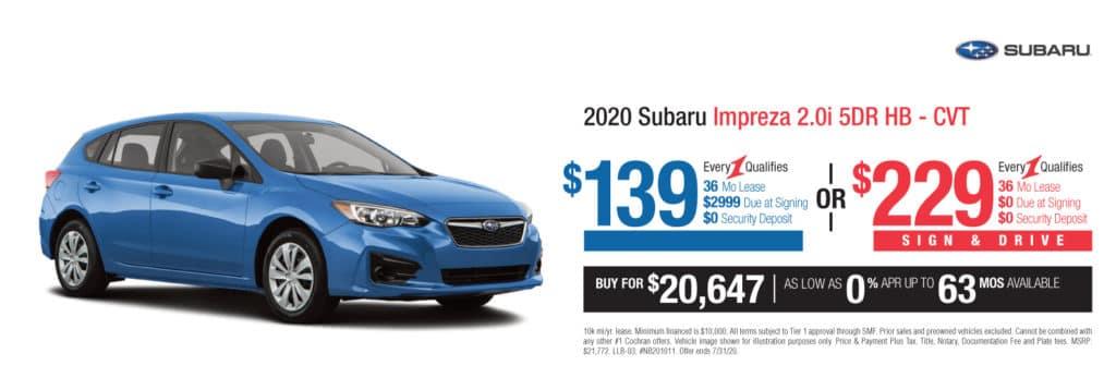 New 2020 Subaru Impreza 2.0i AWD