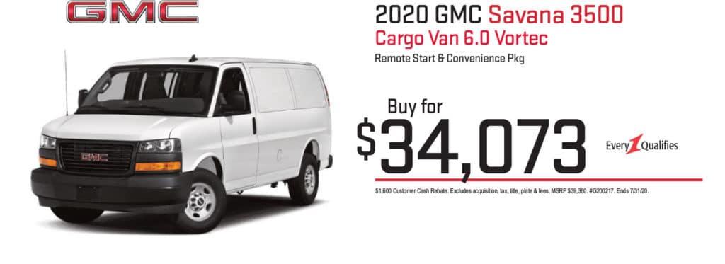 New 2020 GMC Savana 3500 Work Van RWD 3D Cargo Van