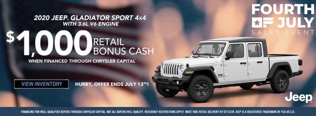 2020 Jeep Gladiator Bonus Cash
