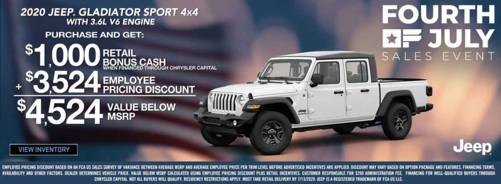 2020 Jeep Gladiator Sport Offer