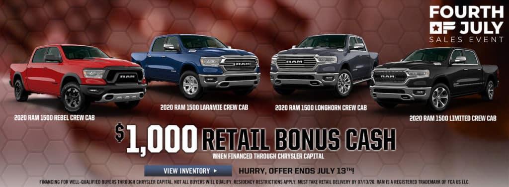 2020 Ram Retail Bonus Cash Offer