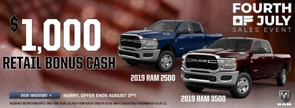 2019 Ram Retail Bonus Cash