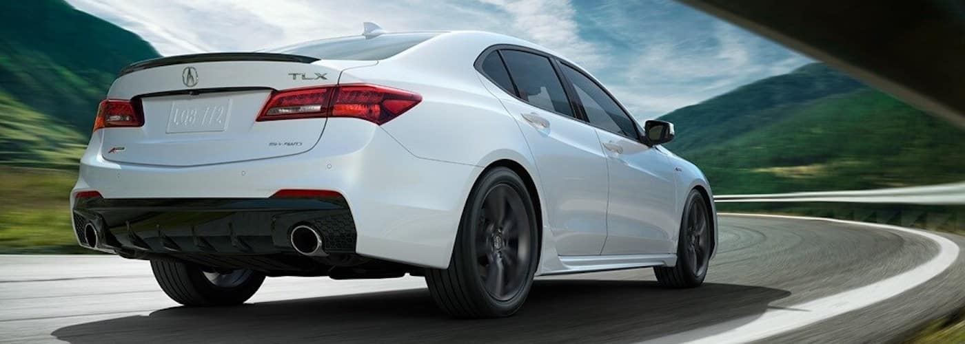White 2019 Acura TLX A-Spec on Highway