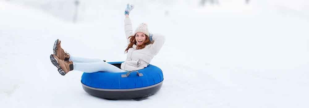 Girl Snow Tubing