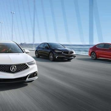 2019 Acura TLX models driving over a bridge