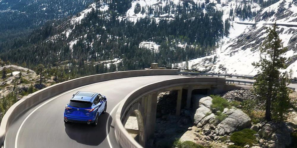 Blue 2020 Acura RDX on Mountain Highway