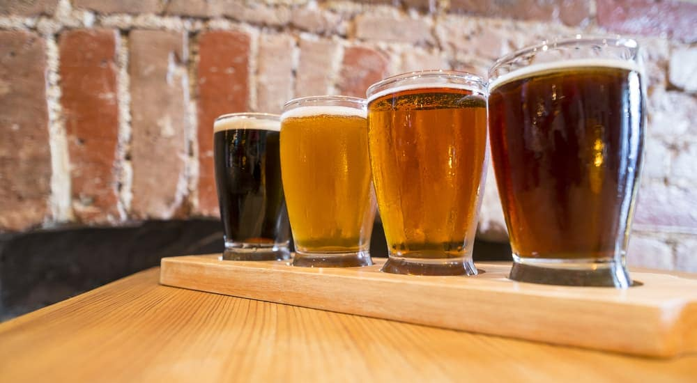 A flight of beer is shown at a Mesa, AZ brewery.