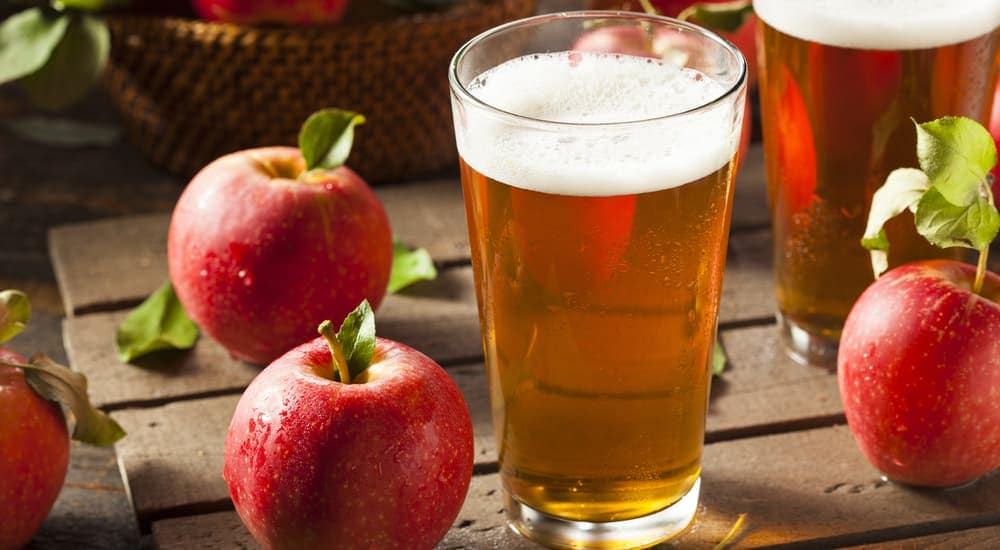 A glass of hard cider is shown.