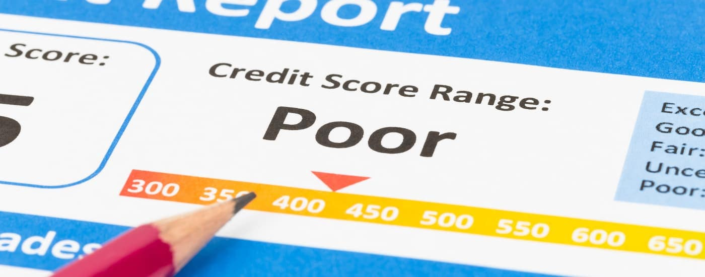 A credit score report is shown with a Poor score.