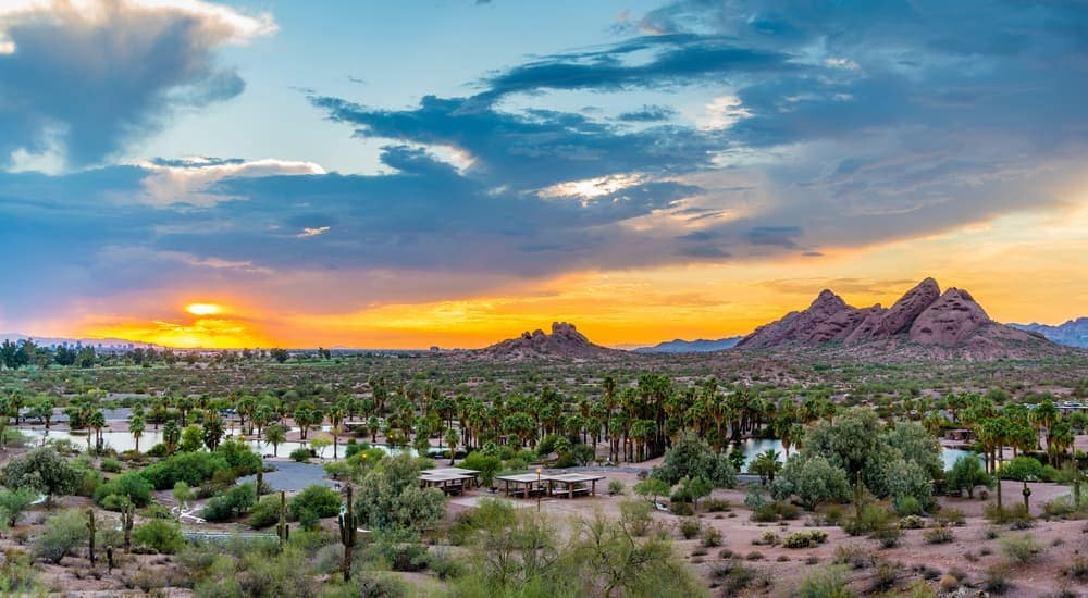 Papago Park at sunset is shown.