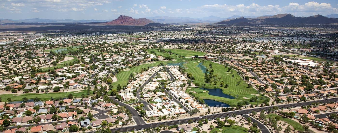 An arial view of Mesa, AZ, is shown.