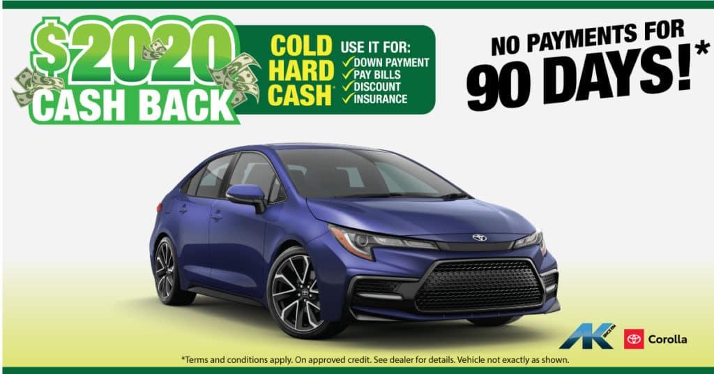 2020 Cash Back Corolla