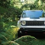 White 2019 Jeep Renegade moving through the jungle