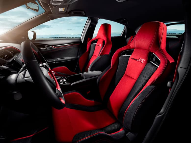 Civic Type R red interior with sport bucket seats
