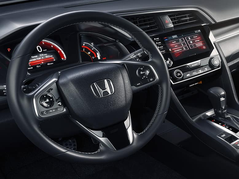 2019 Honda Civic Sport Leather-Wrapped Steering Wheel and Shift Knob
