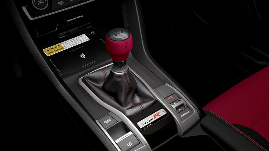 2021 Honda Civic Type R with red leather wrapped shift knob