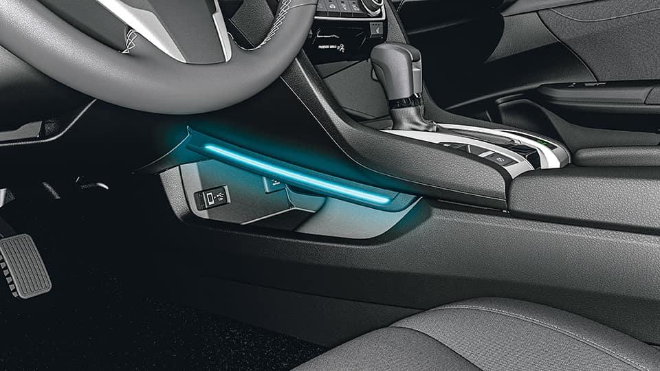 Honda console illumination in blue