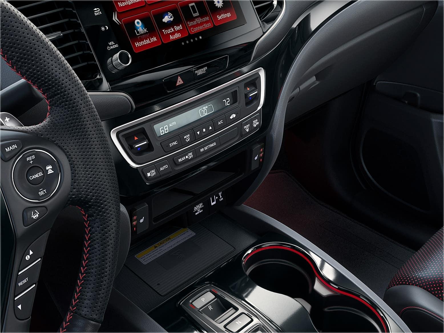 2021 Honda Ridgeline with red ambient interior lighting