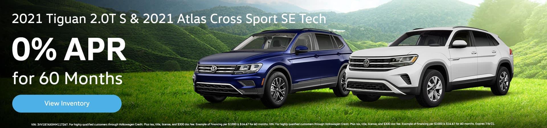 2021 Tiguan 2.0T S & 2021 Atlas Cross Sport SE Tech 0% for 60 Months