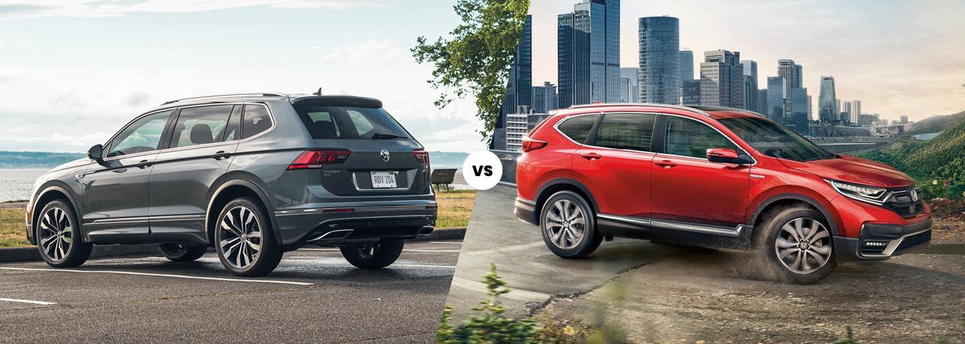 Exterior view comparing the 2021 Volkswagen Tiguan vs. 2021 Honda CR-V
