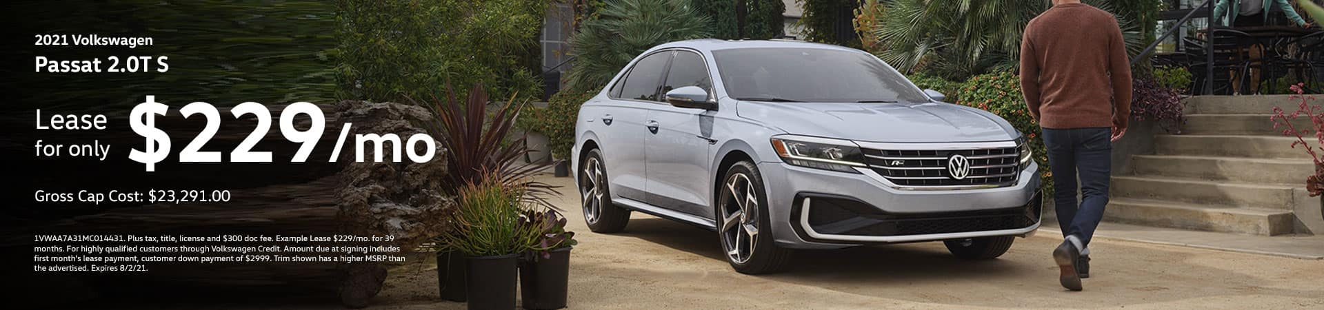 2021 Volkswagen Passat 2.0T S Lease for only 229/month.