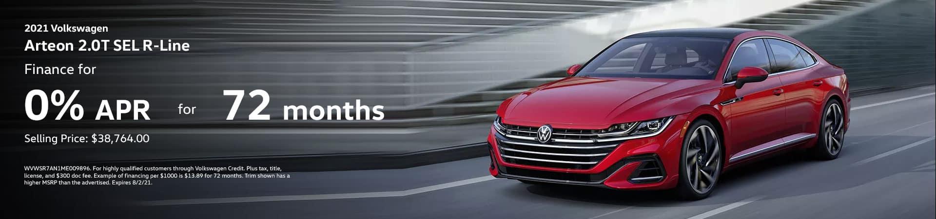 2021 Volkswagen Arteon 2.0T SEL Finance For 0% for 72 months