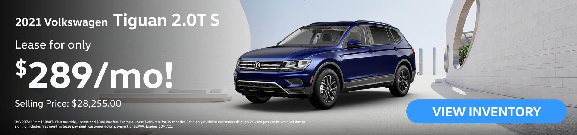 2021 Volkswagen Tiguan 2.0T S Lease for ONLY 289/month! Selling Price: $28,255.00