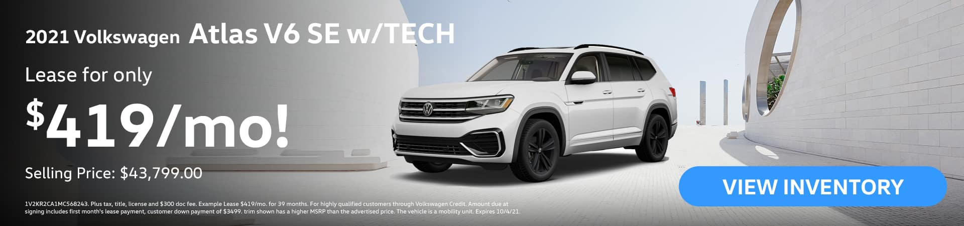 2021 Volkswagen Atlas V6 SE w/TECH Lease for ONLY $419/month Selling Price: $43,799.00