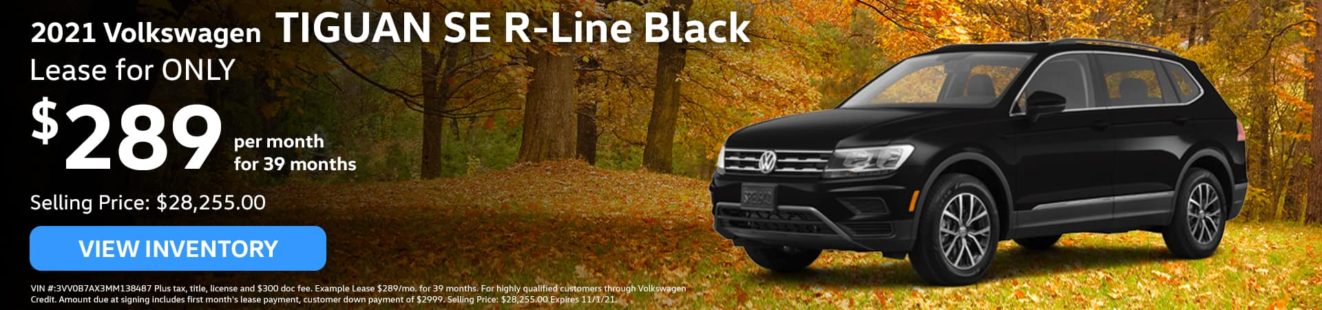 2021 Volkswagen TIGUAN SE R-Line Black, Lease for ONLY $289/mo. for 39 months!