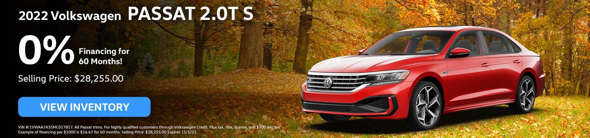 2021 Volkswagen PASSAT 2.0T S, 0% Financing for 60 Months!