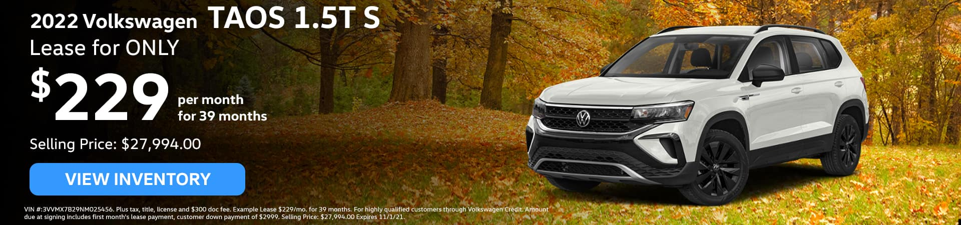 2022 Volkswagen TAOS 1.5T S, Lease for ONLY $229/mo. for 39 months!