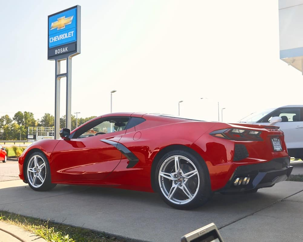 Corvette parked in front of Bosak Chevrolet