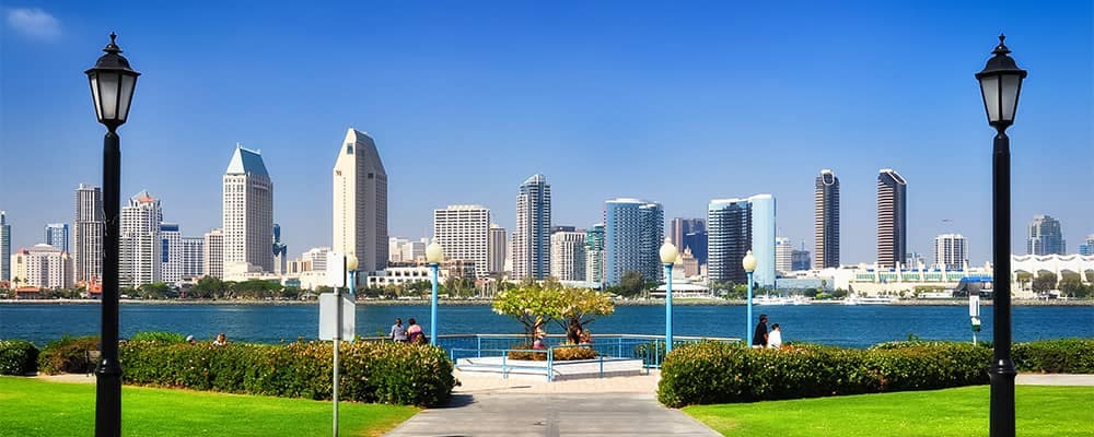 San Diego California City Skyline from Park
