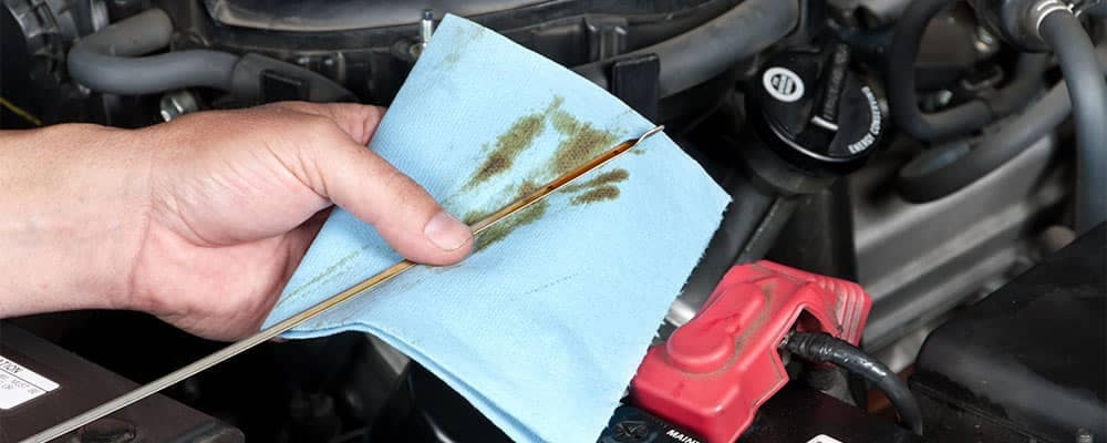 Checking Oil Dipstick in Car