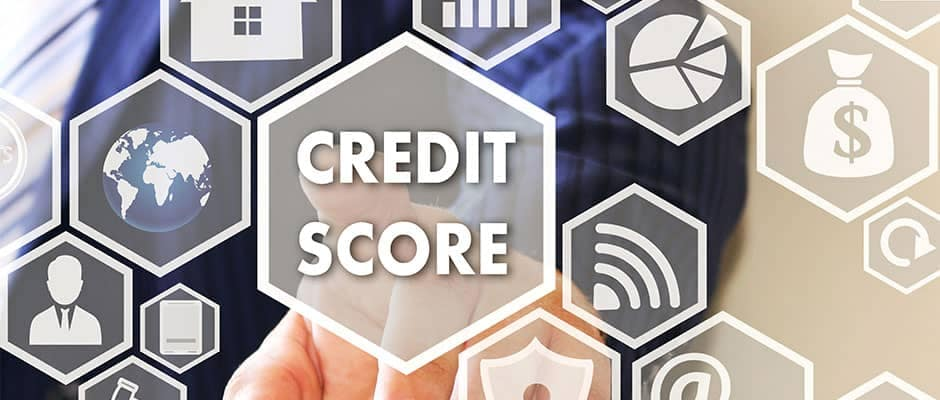 Credit score concept image, digital foreground