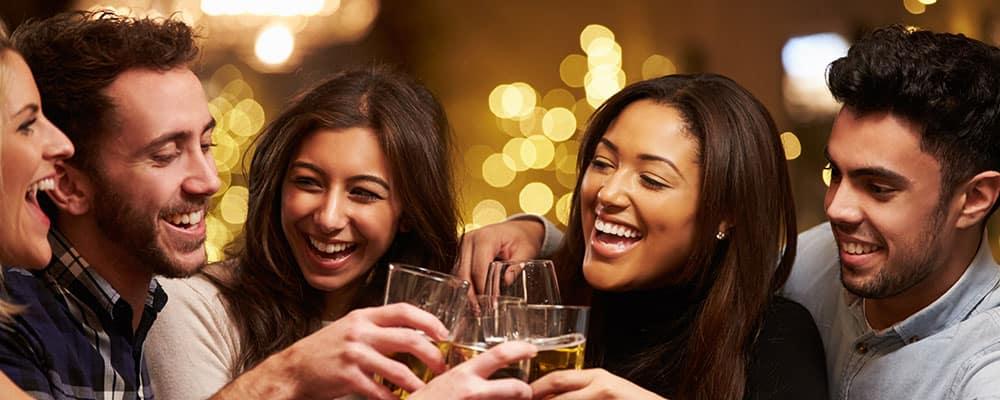 Friends having drinks in a restaurant pub