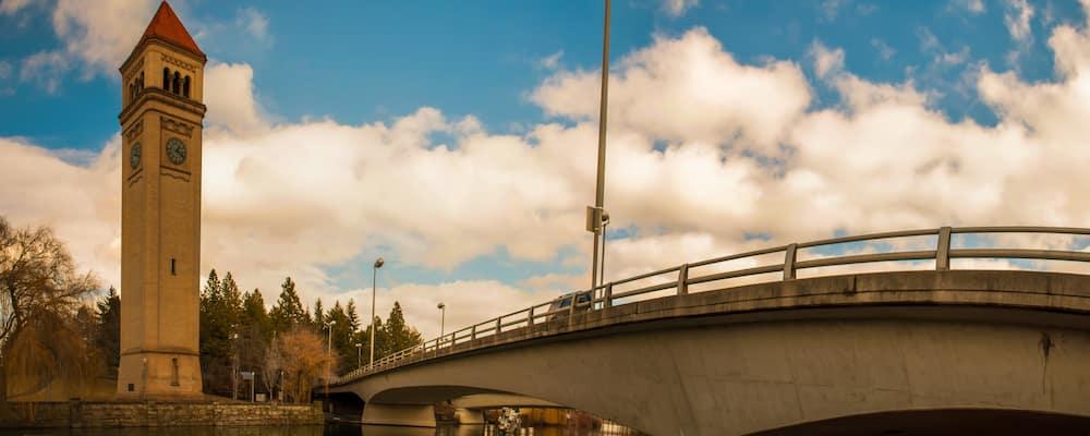 Architecture, bridge, and sky in downtown Spokane, WA
