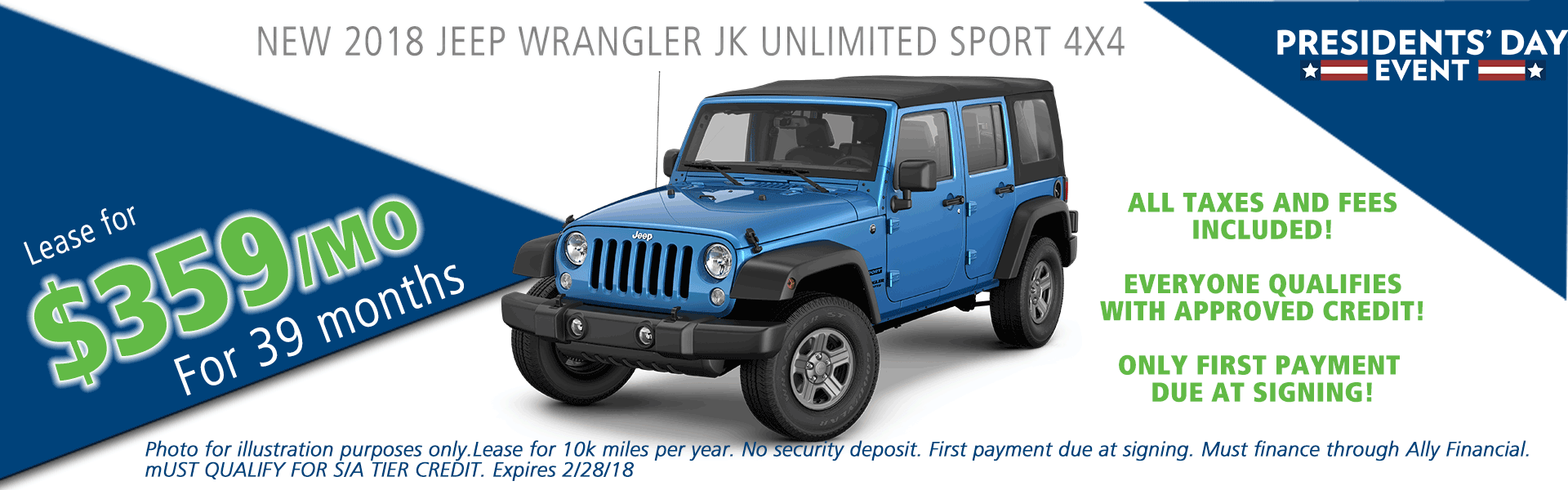 NEW 2018 JEEP WRANGLER JK UNLIMITED SPORT 4X4 CARRIGHT AUTO MOON TOWNSHIP PA PITTSBURGH