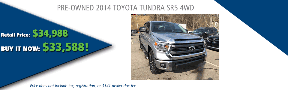 PRE-OWNED 2014 TOYOTA TUNDRA SR5 4WD carright automotive serving moon township, north hills, south hills, pittsburgh
