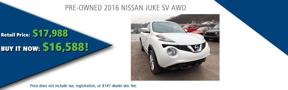PRE-OWNED 2016 NISSAN JUKE SV AWD carright automotive serving moon township, north hills, south hills, pittsburgh
