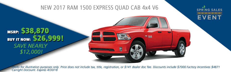 NEW 2017 RAM 1500 EXPRESS QUAD CAB® 4X4 6'4 BOX carright auto 5408 university blvd moon, pa 15108 chrysler dodge jeep ram