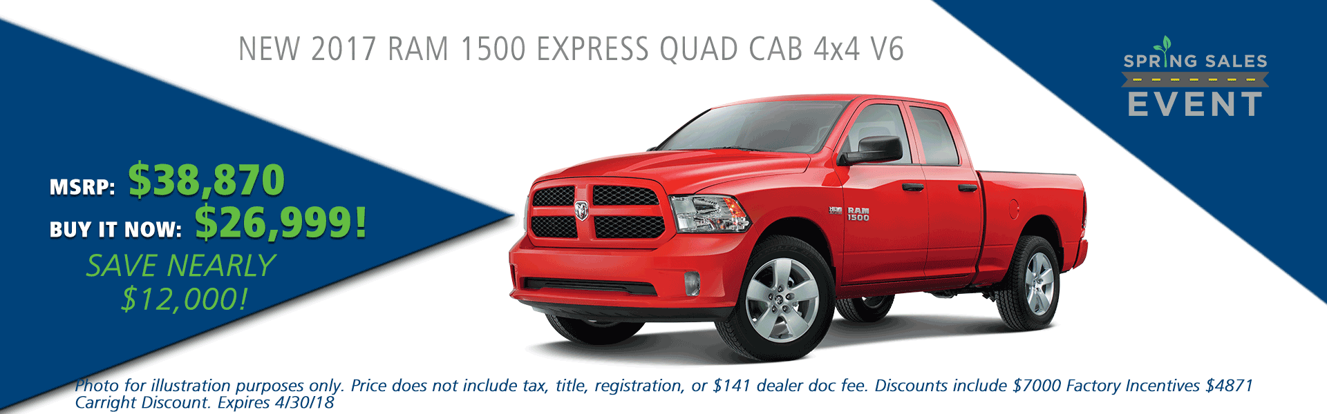 NEW 2017 RAM 1500 EXPRESS QUAD CAB® 4X4 6'4 BOX carright auto 5408 university blvd moon, pa 15108 chrysler dodge jeep ram