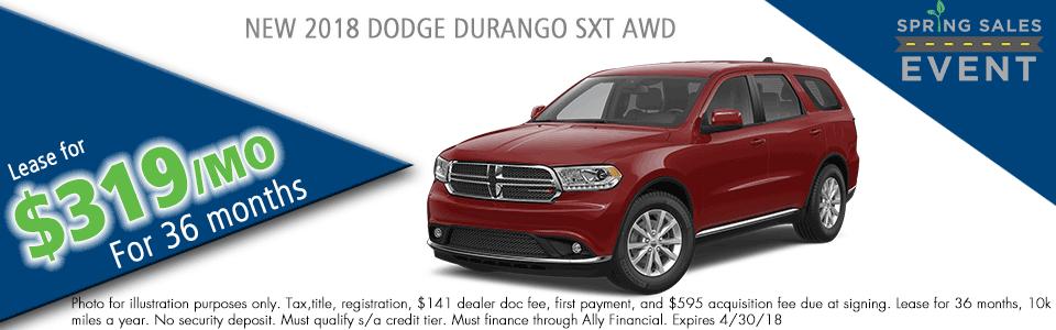 NEW 2018 DODGE DURANGO SXT AWD carright auto 5408 university blvd moon, pa 15108 chrysler dodge jeep ram