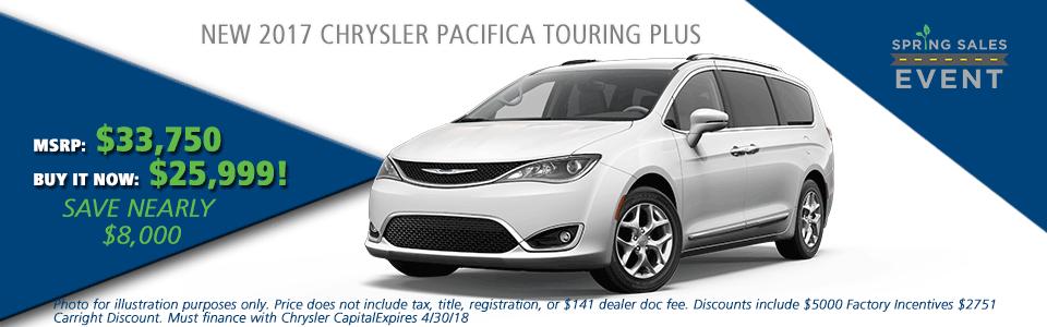 NEW 2017 CHRYSLER PACIFICA TOURING PLUS carright auto 5408 university blvd moon, pa 15108 chrysler dodge jeep ram
