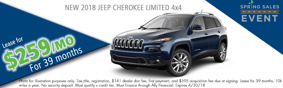 NEW 2018 JEEP CHEROKEE LIMITED 4X4 carright auto 5408 university blvd moon, pa 15108 chrysler dodge jeep ram